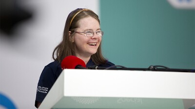 Hanna Joy Atkinson speaking at the Special Olympics World Winter Games Abu Dhabi 2019.