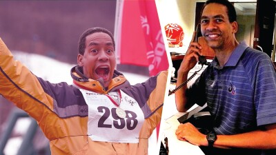 A split image of Terrel cheering on the left and Terrel answering the phone on the right.