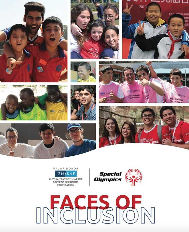 """A screenshot of the title page of the Faces of Inclusion storybook, which reads """"Faces of Inclusion,"""" and includes the Special Olympics and Stavros Niarchos Foundation's logos. It features nine different pictures of Special Olympics participants. Everyone is smiling. Many wear Special Olympics jerseys, and some give thumbs up or peace signs."""