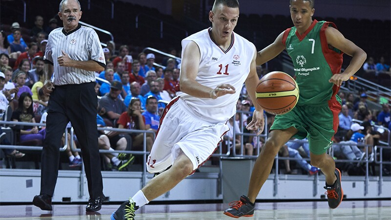 A basketball game being played at Special Olympics World Summer Games Los Angeles 2015