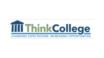 Think College blue and green logo that reads: Think College: Changing expectations. Increasing opportunities.