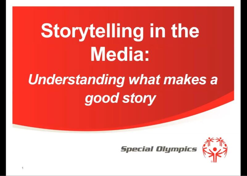 Screen shot from presentation that reads: Story Telling in the Media: Understanding what makes a good story.