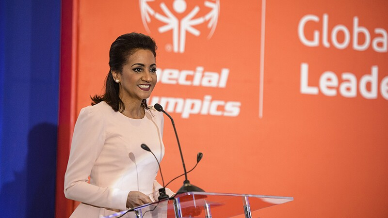 First Lady of the Dominican Republic, Cándida Montilla de Medina speaks on partnering with the Special Olympics for the Global Athletes Congress