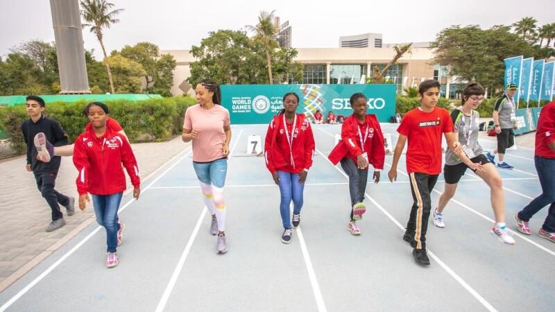 Allyson Felix with 2019 World Games athletes in Dubai, UAE