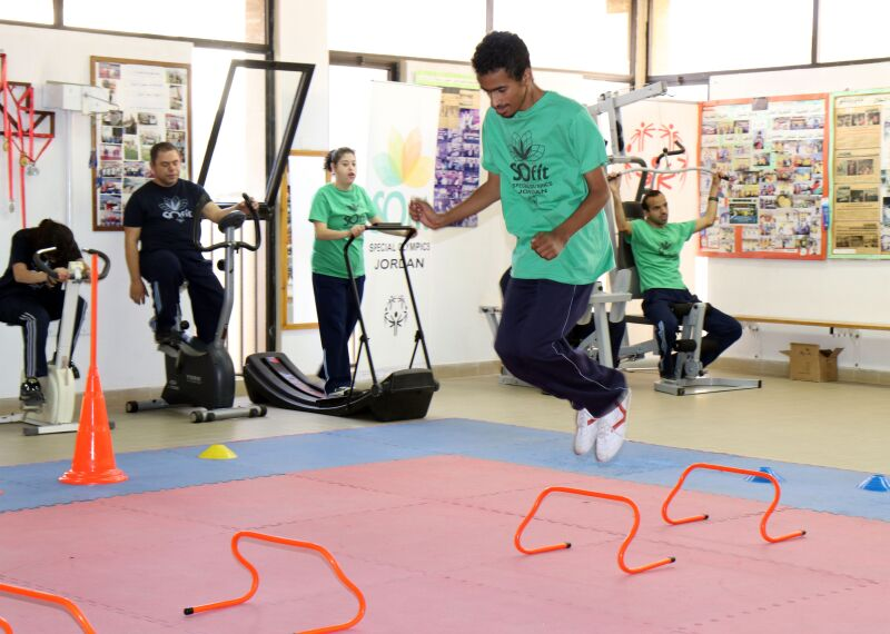 Special Olympics athletes in Jordan participate in SOFIt activities.