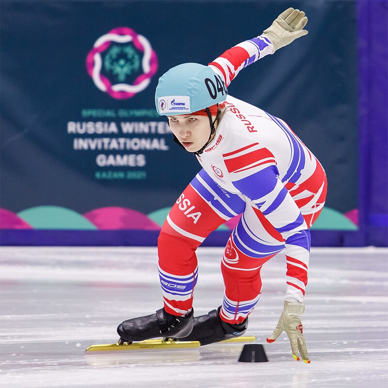 An athlete competes in speed skating during Special Olympics Russia Winter Invitational Games 2021.