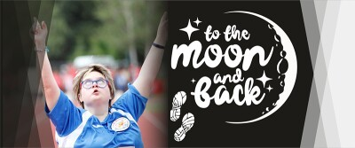 Diletta Martinelli, athletics and cross-country skiing champion, with the To The Moon And Back campaign logo.