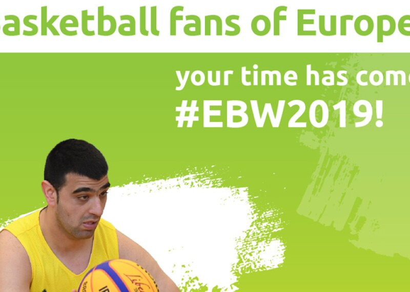 A man in a yellow jersey has the ball. Text on the image reads: Basketball fans of Europe your time has come! #Ebw2019!