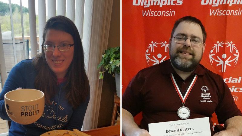Two Special Olympics athletes smile at the camera.