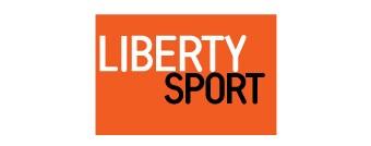 Liberty Sport black and white text on orange background.