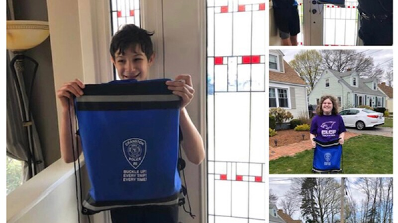 Images of people holding the care package.