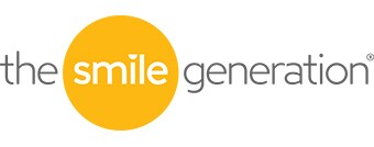 Pacific Dental: The Smile Generation logo in gray and  yellow.