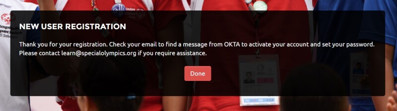New User Registration completion message from Okta.