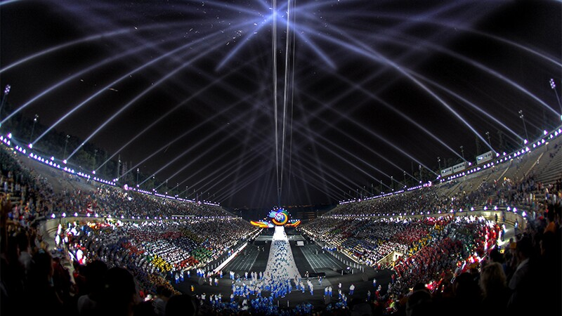 Opening ceremony light show.