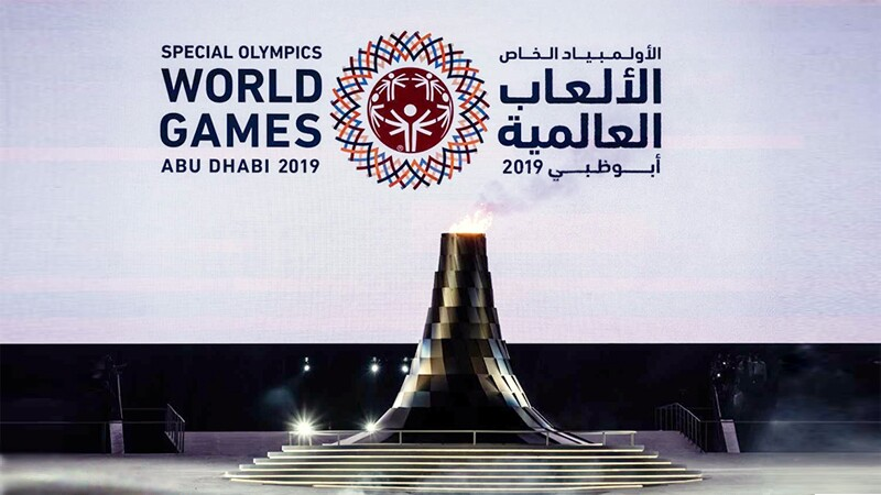 Flame of Hope lit on the opening ceremony stage at the Abu Dhabi 2019 World Games.