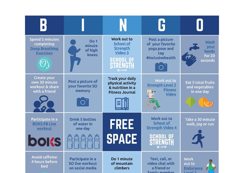 image of a bingo card with different workouts in each block.