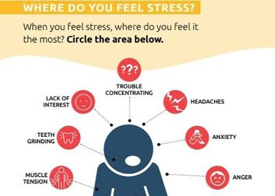 Text in image: Where do you feel stress? When you feel stress, where do you feel it the most? Circle the area below: Muscle tension; teeth grinding; lack of interest, trouble concentrating; headaches; anxiety; anger. With an illustration of a person.