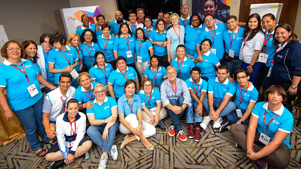 Latin America (light blue shirts): Special Olympics Latin America hosted their first ever Regional Athlete Congress in junction with their 2017 Latin America games. The forum included leadership training, external speakers and participation in all games events.