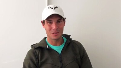 Raphael Nadal speaking to the camera.