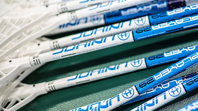 A stack of floorball sticks.