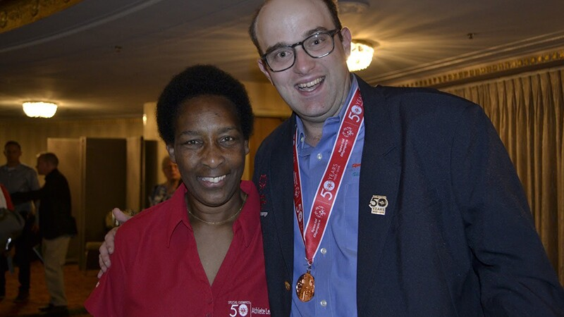 Loretta Claiborne (left) poses with Daniel Smrokowski in Chicago, IL at the 50th Anniversary of Special Olympics in July of 2018.