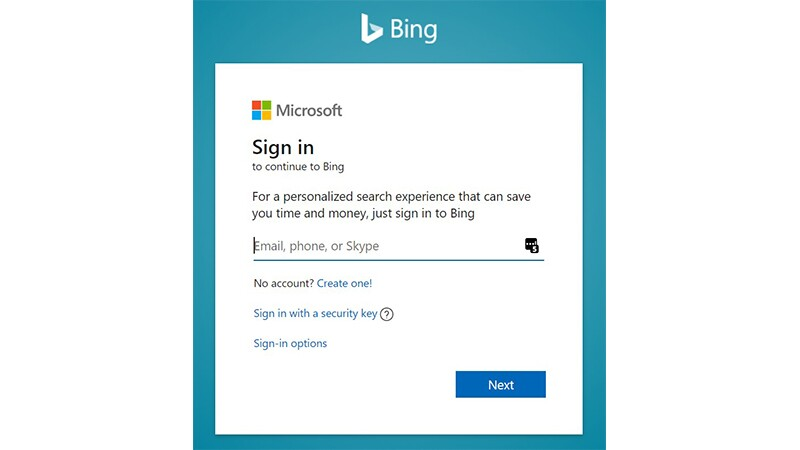 Image of Bing's Microsoft sign in screen.