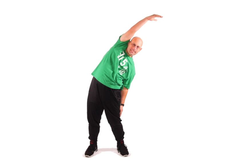 Athlete demonstrating  Standing Side Reaches.