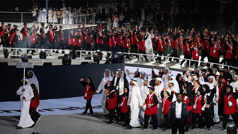 The full UAE delegation walking down the stage.