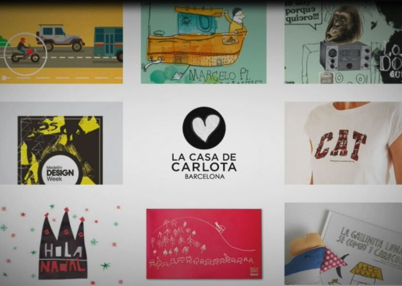 video capture of logos and art work created by la casa de carlota a design studio in Barceloa; designers at la casa de carlota have ID.