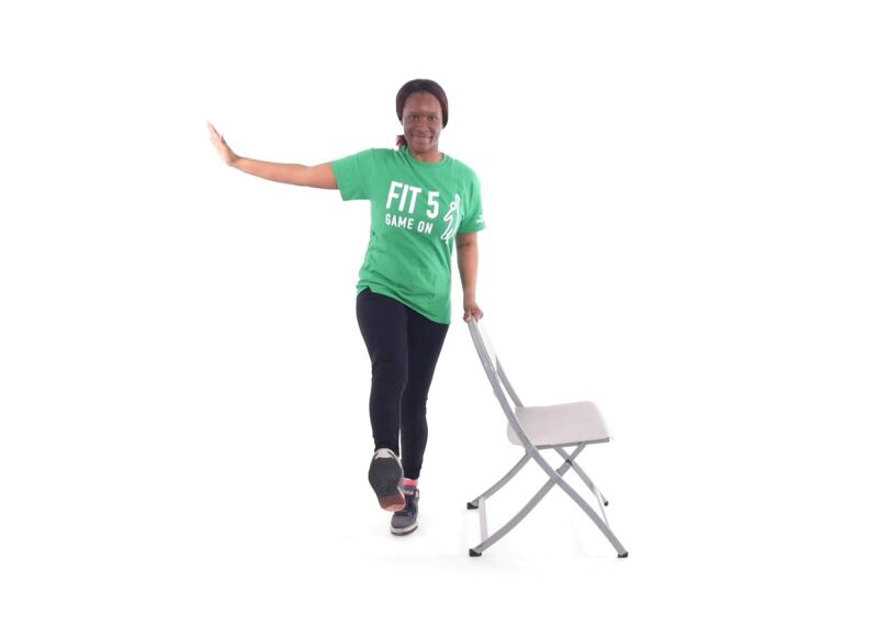 Athlete demonstrating Leg Swings.