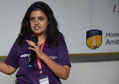 Simran on stage speaking