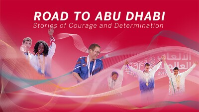 Graphically enhanced image with photos of 6 athletes and a line illustration with text that reads: Road to Abu Dhabi: Stories of Courage and Determination.