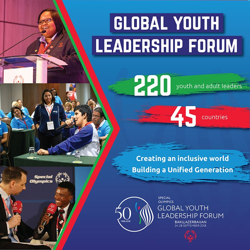 Global Youth Leadership Forum advertisement that reads: 220 youth and adult leaders; 45 countries; creating an inclusive world building a unified generation. Text on the bottom that reads: Special Olympics Global Youth Leadership Forum; Bake, Azerbaijan; 24-28 September 2018. Three images are included on the left side of the add that depict Special Olympics athletes participating in a forum.