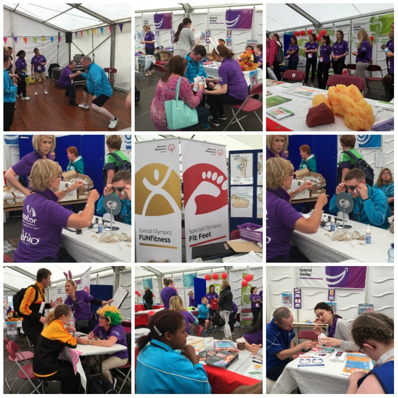A collage of nine images featuring Healthy Athletes screening activities.
