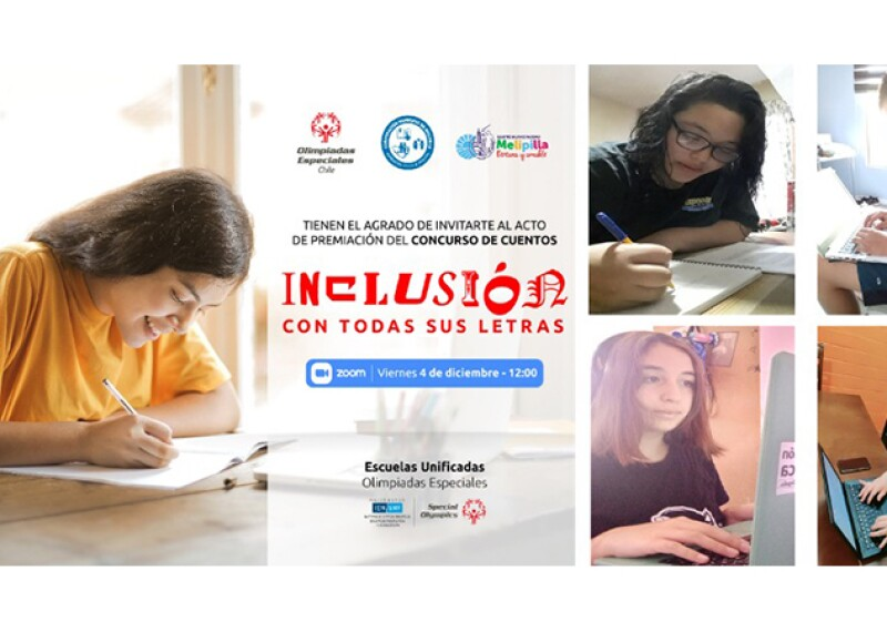 The flyer for the competition's Zoom celebration, featuring four youth participants writing their stories.