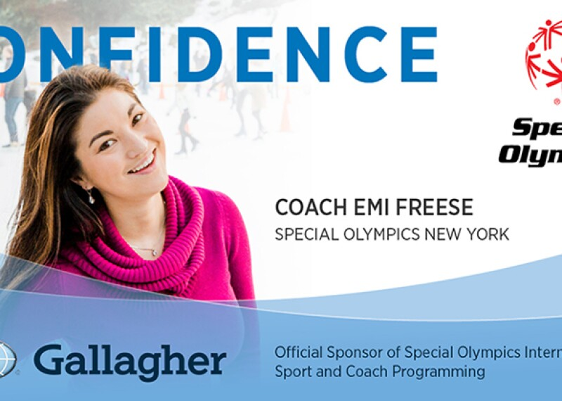 Coach Emi in a bright purple cow-neck sweater on the ice with ice skaters in the background.  Text on the top reads: Confidence. Text on the bottom reads: Coach Emi Freese, Special Olympics New York; Gallagher logo and text that reads: Official Sponsor of Special Olympics International Sport and Coach Programming.