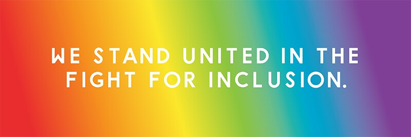 Background is pride colors, text reads: We Stand United in the Fight for Inclusion.