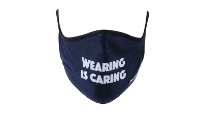 Facemask with text that reads: wearing is caring