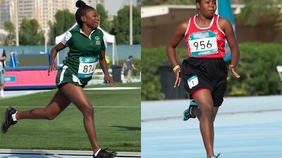 Two female runners running.