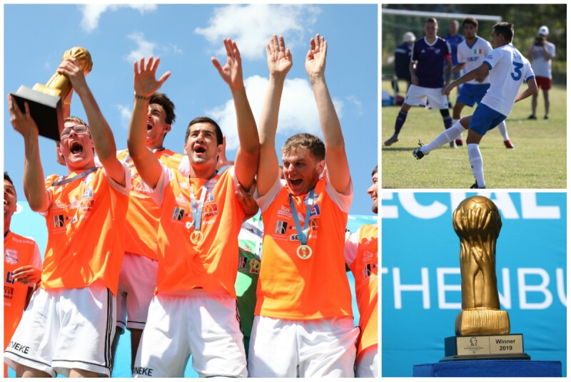 A collage of three photos. One features a team holding a trophy with arms up in celebration, the second features a player in a white jersey kicking a football and the third features a gold-coloured trophy on a plinth.