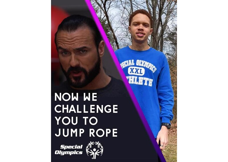 WWE Superstar Drew McIntyre and Special Olympics athlete Alex Hannah looking into camera