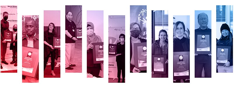 Multiple images of award recipients.