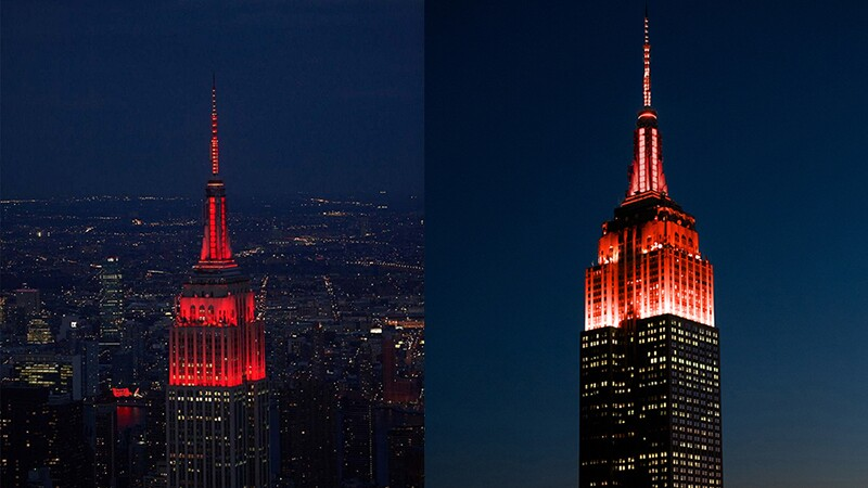 Empire State Building lit up red for Inclusion, a part of the Special Olympics 50th Anniversary Celebration