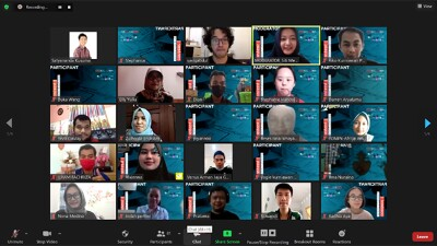 A screenshot of a Zoom meeting with many youth. Many have a matching dark blue Creative Digital Campaign virtual background.