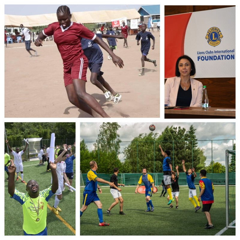 A collage of four images: the top left image is a female football player running with the ball, the top right image is a woman sitting in front of a banner with the Lions Clubs International Foundation logo on it, the bottom left is football player with his hands in the air and a medal around his neck, the bottom right is a group of football players jumping for the football in front of the net.
