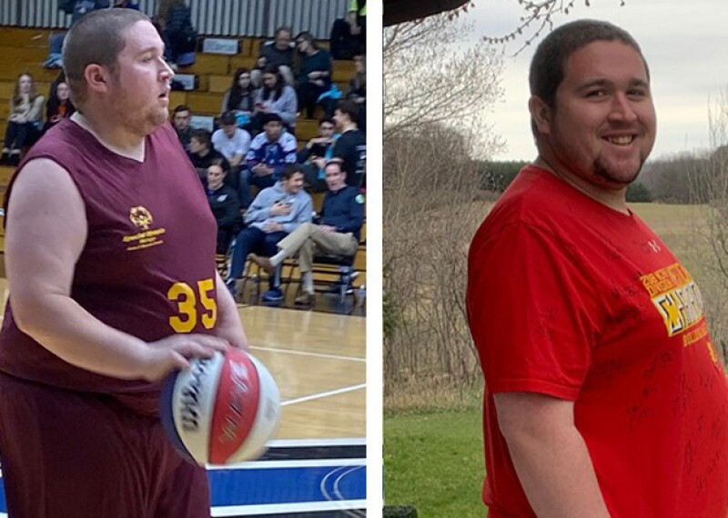 Nick playing basketball on the left and showing off his profile on the right.