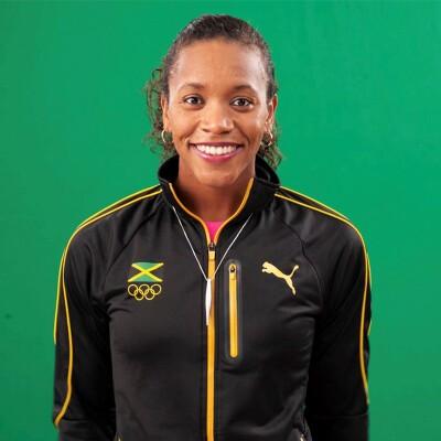 Alia Atkinson in her Jamaican Olympics puma jumper.