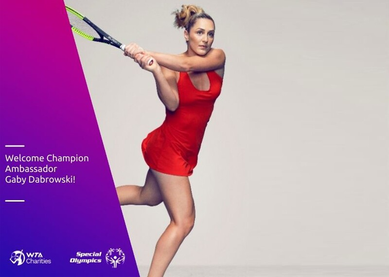 Gaby Dabrowski, Special Olympics Champion Ambassador announcement image. Image of Gaby swinging her tennis racket in a red tennis outfit.