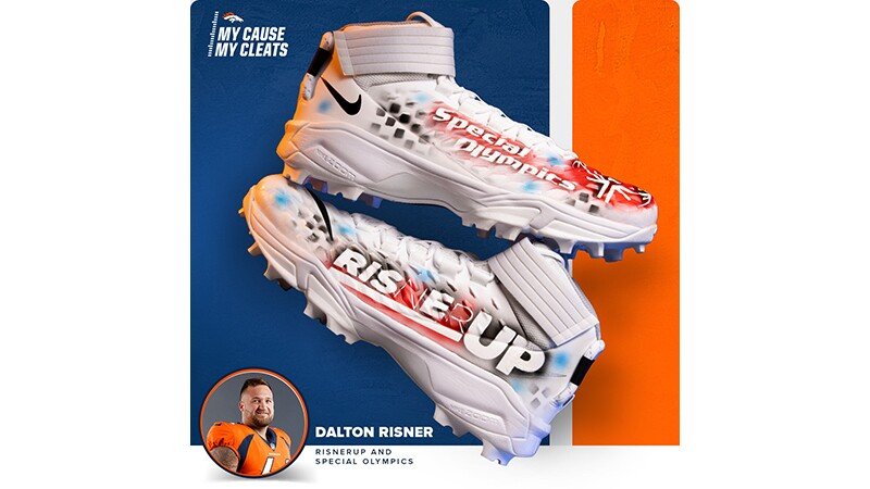 Dalton Risner's Special Olympics Rise Up cleats.