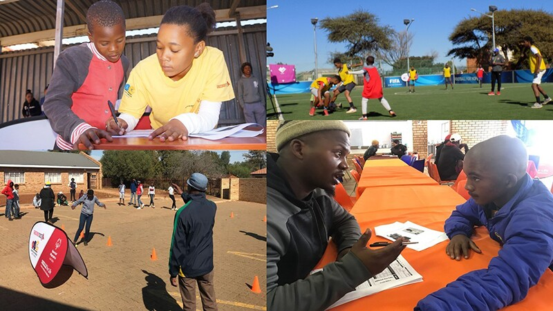 Photos from Africa Region's Holiday Camp. Top left, a young lady and a young boy are doing homework together. Top right, a group of young athetes play football. Bottom left, young athletes are running a healthy athletes endurance course. Bottom right, a man is explaining a form to a young man.